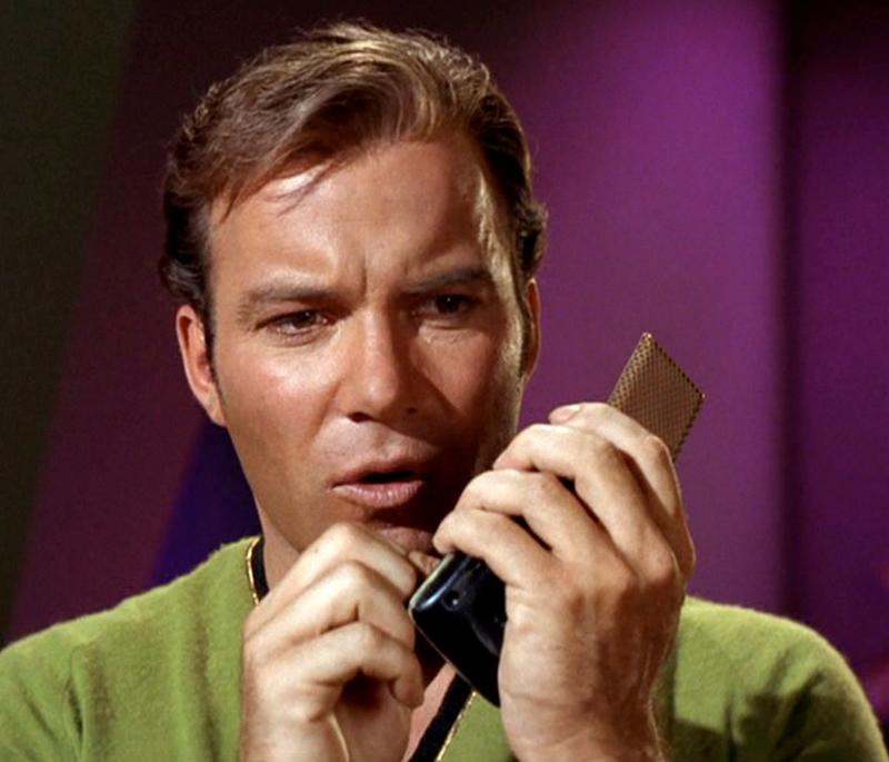 Image result for captain kirk with communicator